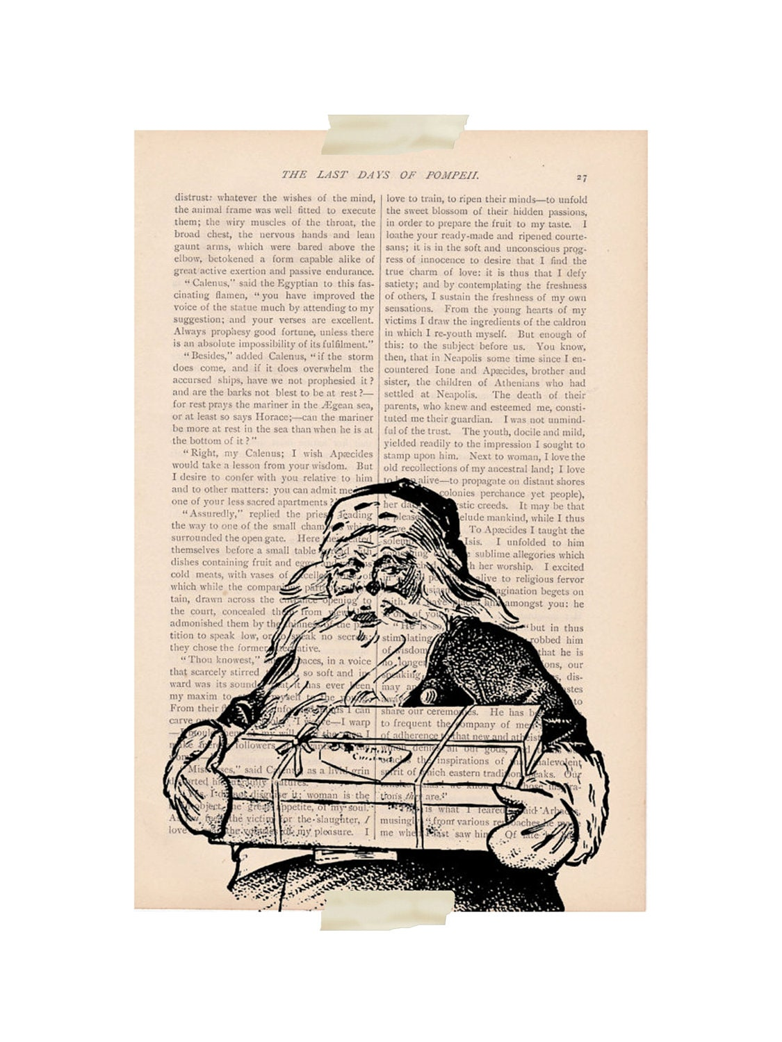 rustic christmas decor Santa Claus dictionary art print - ExLibrisJournals