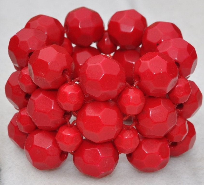 Chunky Monkey Red Bead Macrame Cuff Bracelet