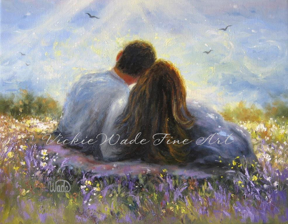 Oil Painting Romantic Couple Landscape