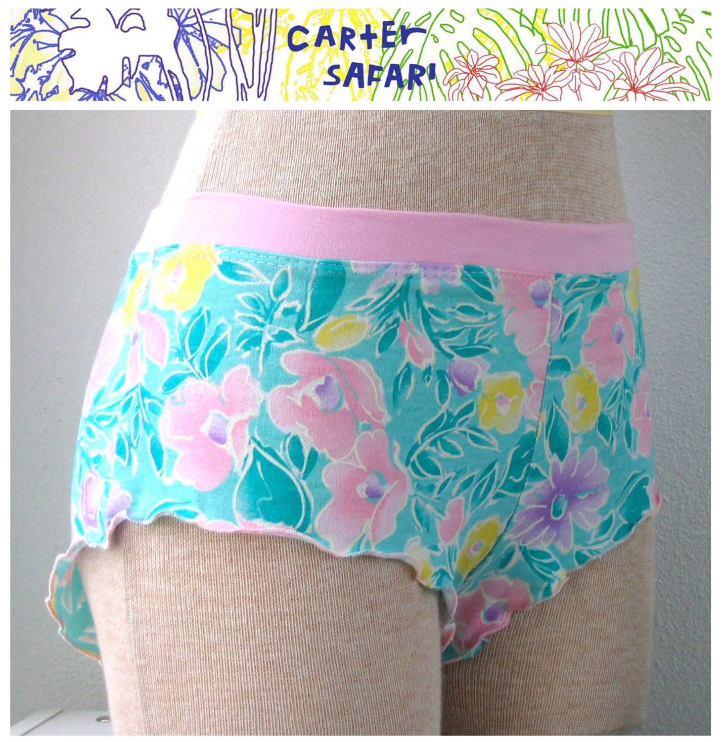 Pink Vintage Floral Frilly tap short - (M) Underwear panties - cartersafari