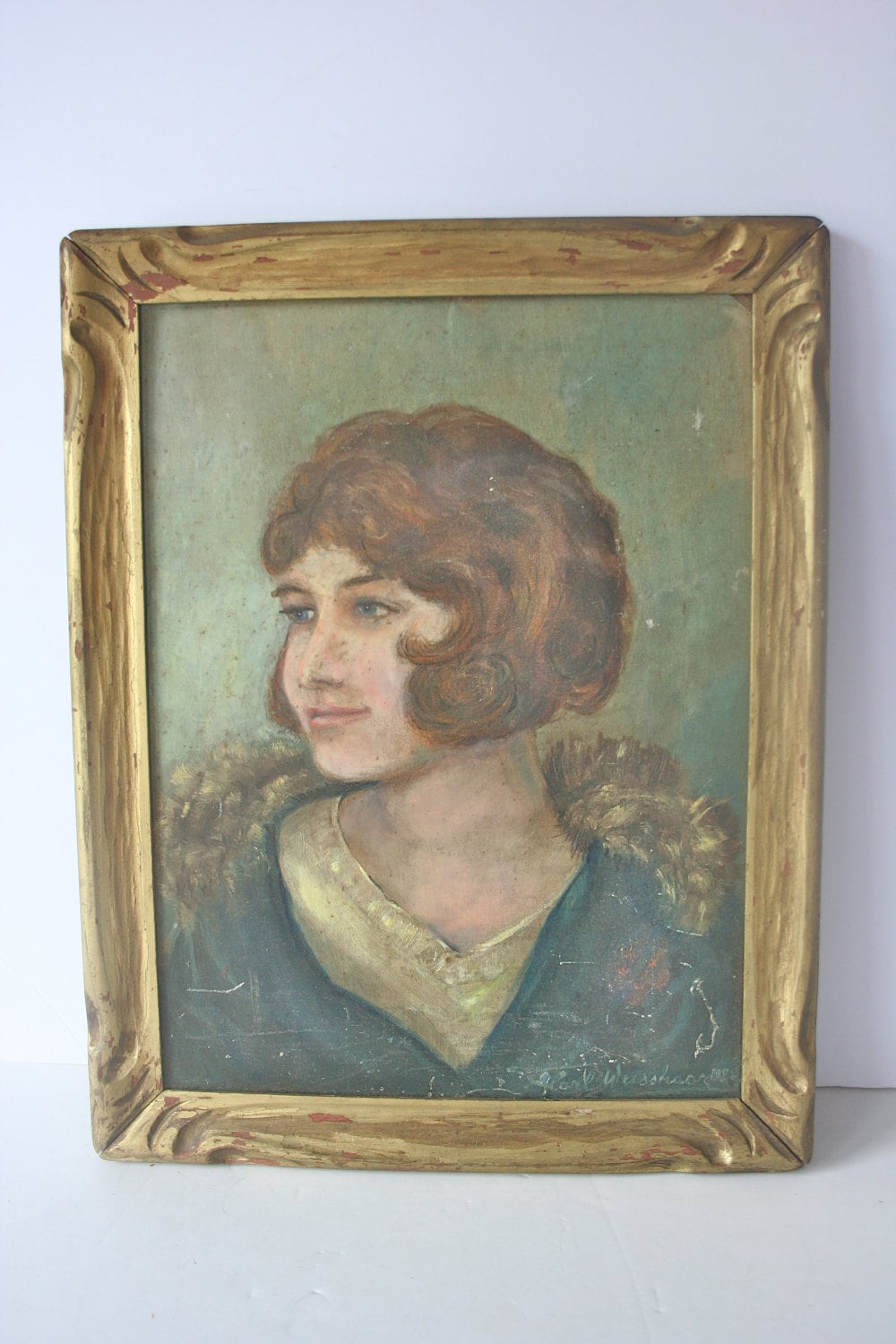 painting portrait  1920s flapper girl vintage by mightyfinds
