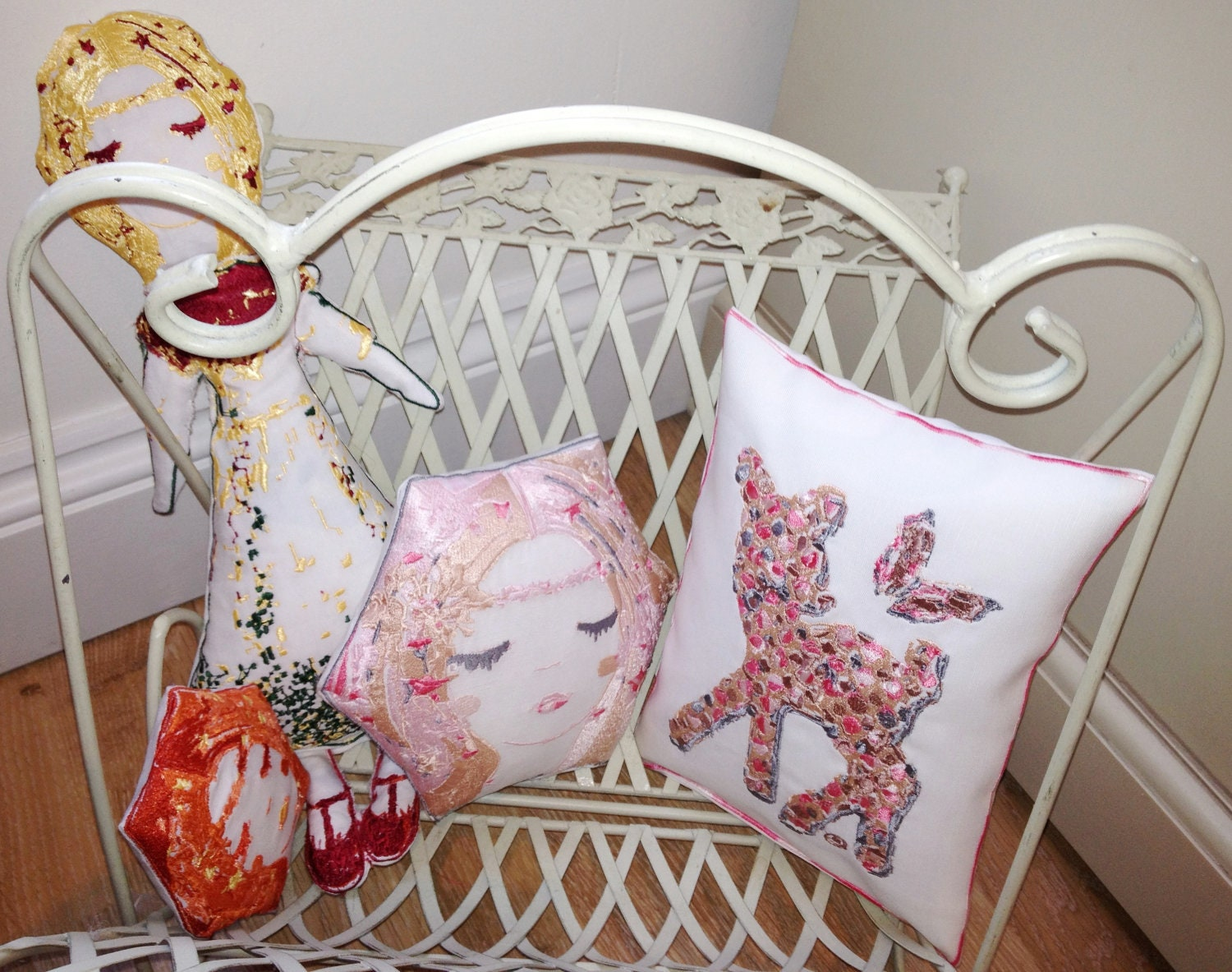 Deanna the Deer and Buttercup the Butterfly -Artistic Textured Embroidery - Throw Cushion