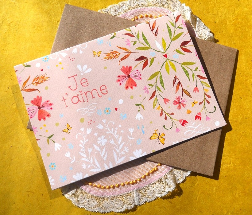 Je t'aime -- 5x7 Greeting Card