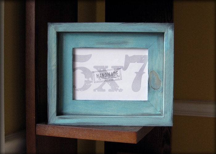 5x7 turquoise rustic stacked pine picture frame . handmade .