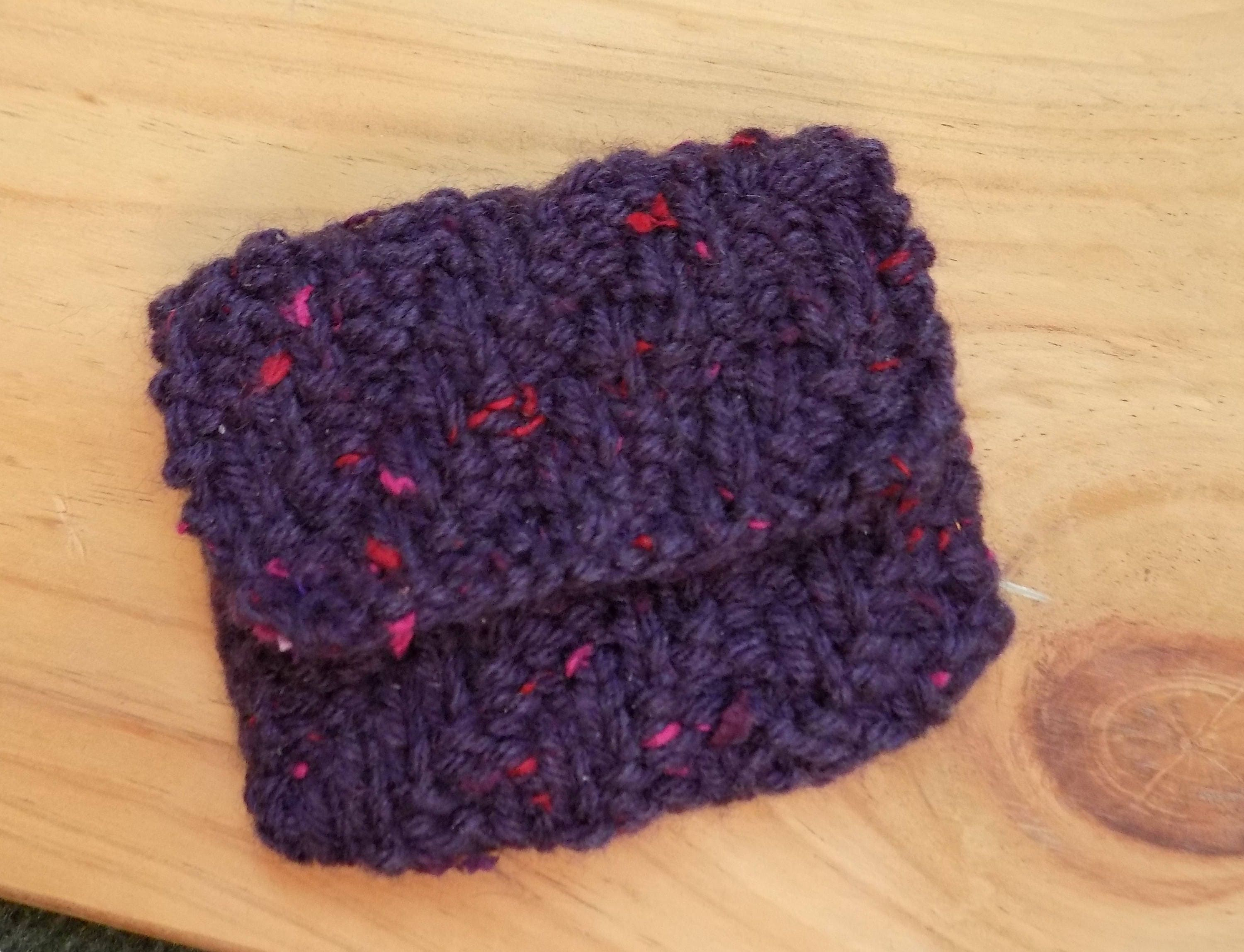Hand Knitted Coin Purse Purple Change Purse