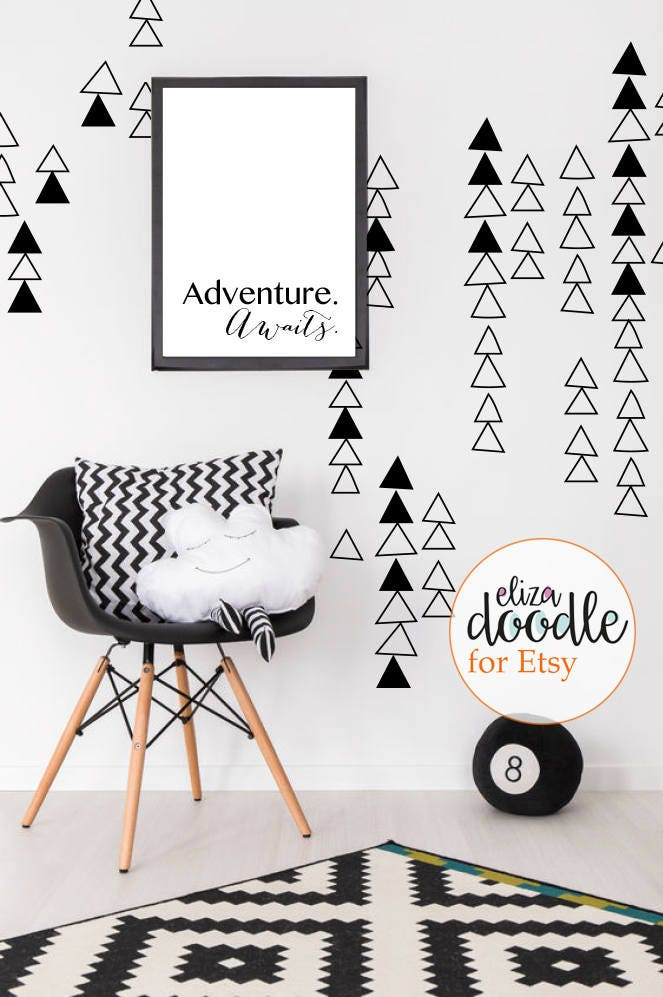 Triangle wall decals  wall stickers  triangles girls bedroom  triangle boys bedroom  removable vinyl stickers  fake wallpaper