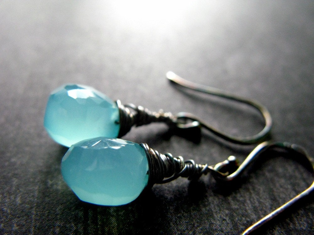 Aqua Chalcedony Faceted Briolettes earrings - from the Petits Luxes Collection