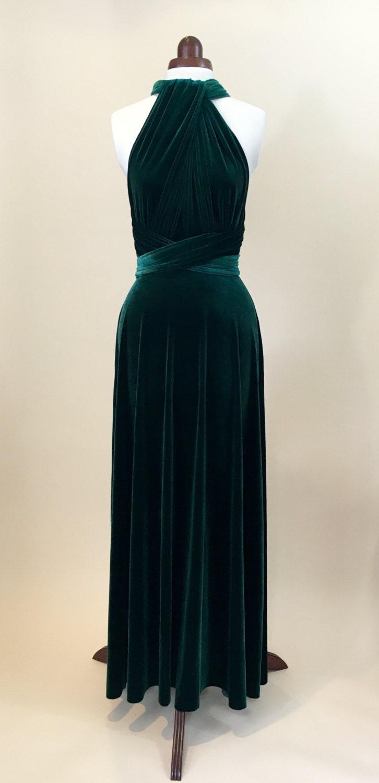 Green velvet dress infinity dress bridesmaid dress prom dress ball gown long dress evening dress convertible dress party dress