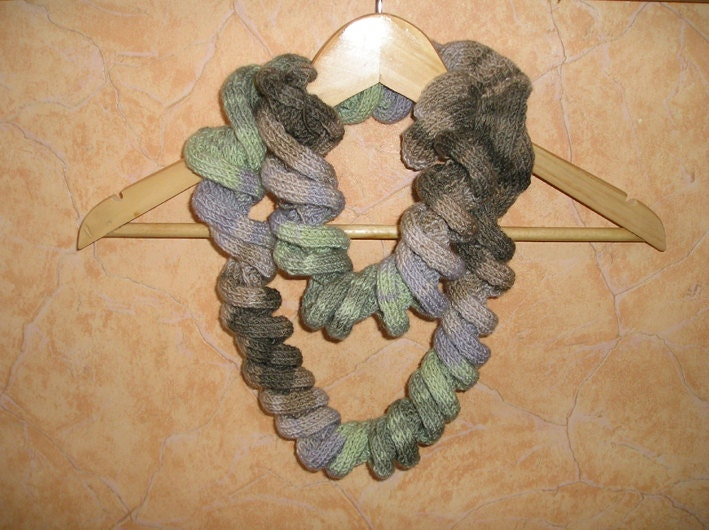 Ruffles scarf - spiral scarf - knitting ruffles scarf - woman brown-green scharf - Gofen