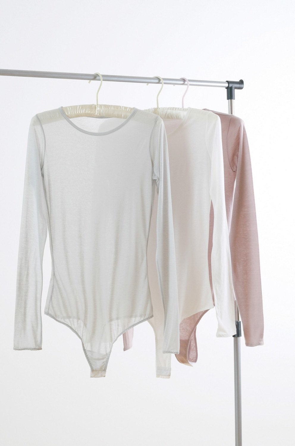 Essential Jewel Neck Cotton Long  Sleeved Thong Bodysuit