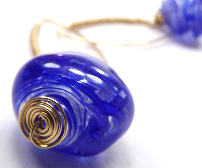 Glass Jewelry by TOAO: Fisheye Earrings: Glass hollow bead in  navy blue and gold-filled