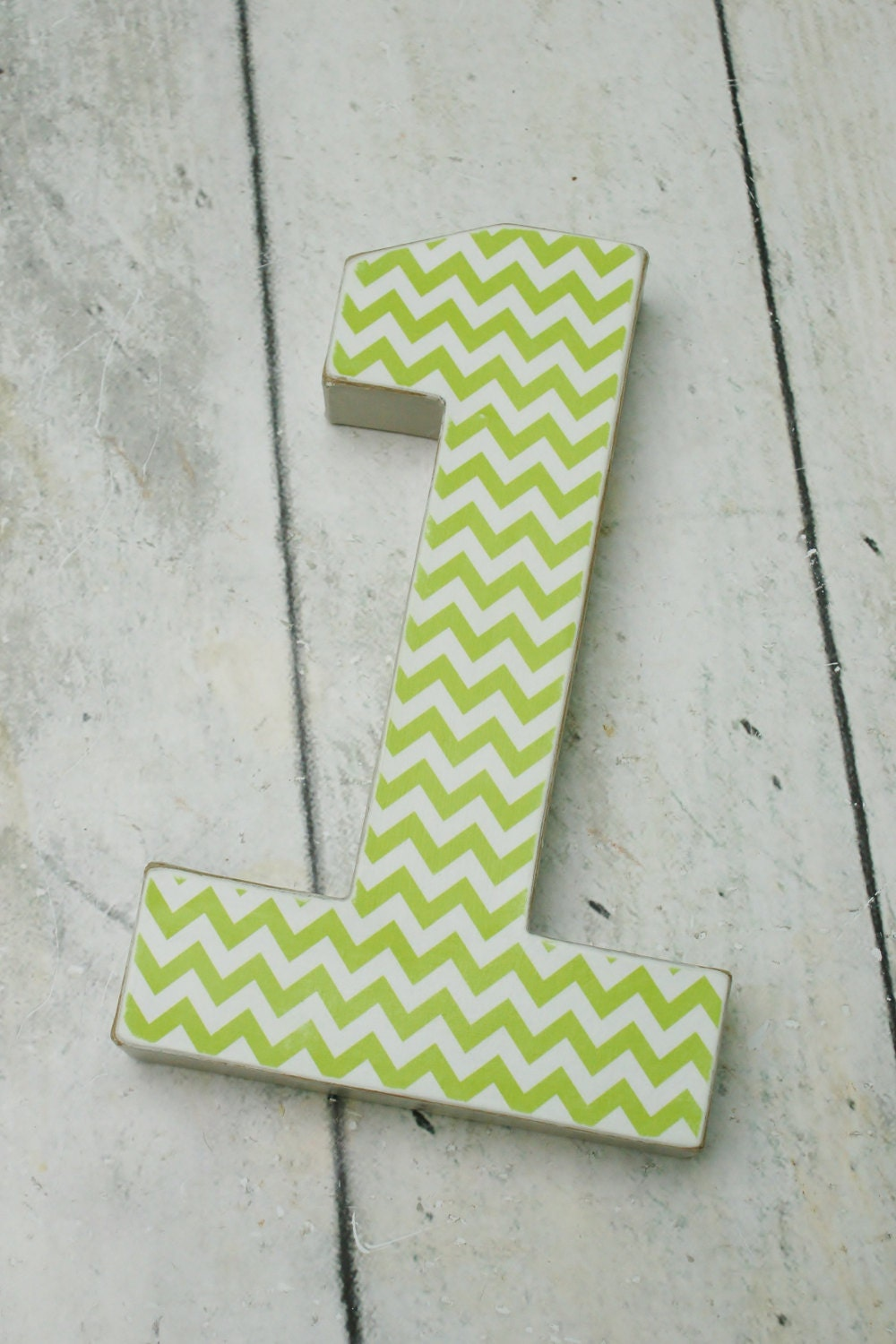 Cake Decor Numbers : Birthday Photo Prop ONE Number 1 Green Chevron by ...