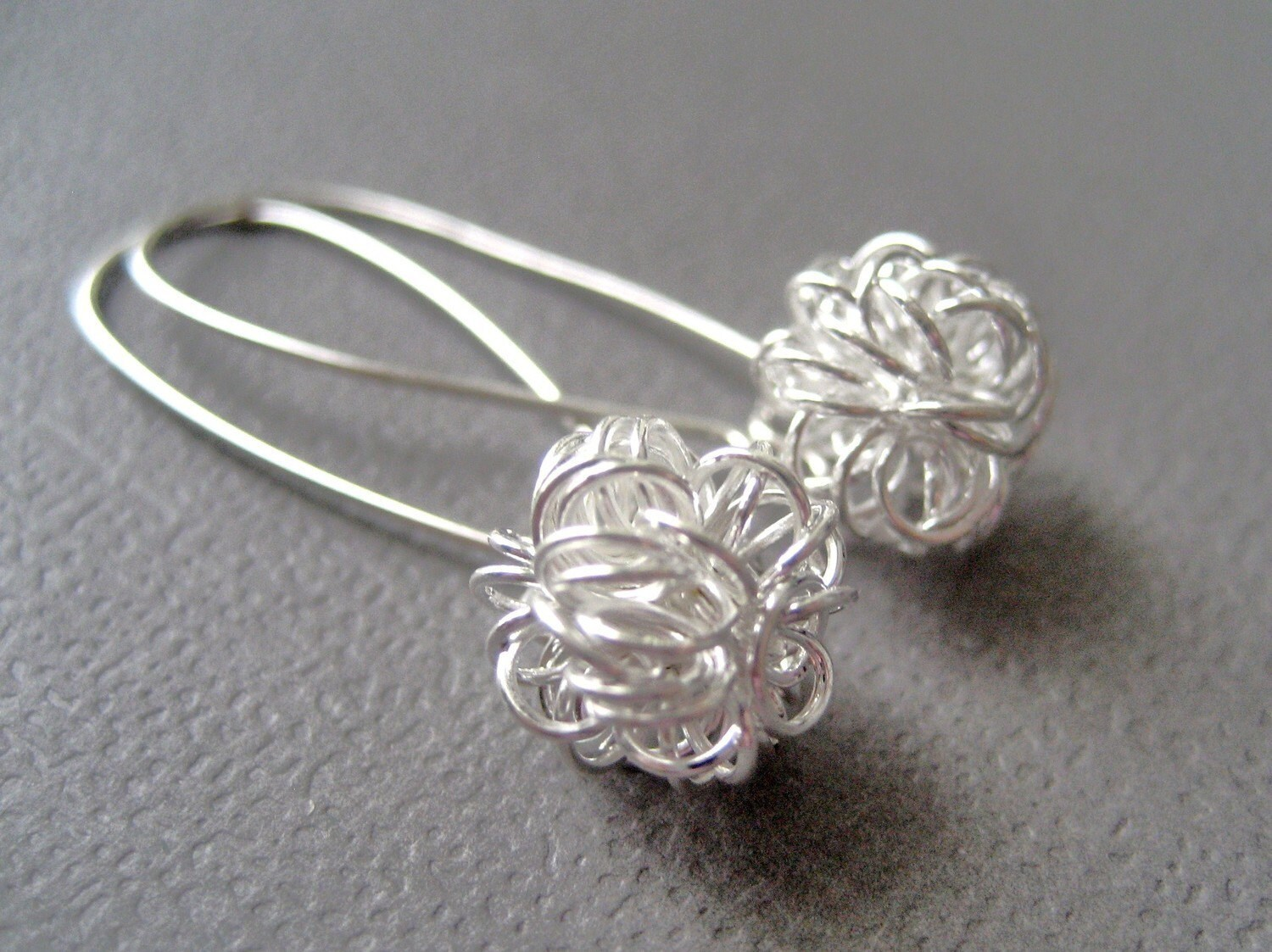 Dandelions Silver Balls European design Silver Earrings