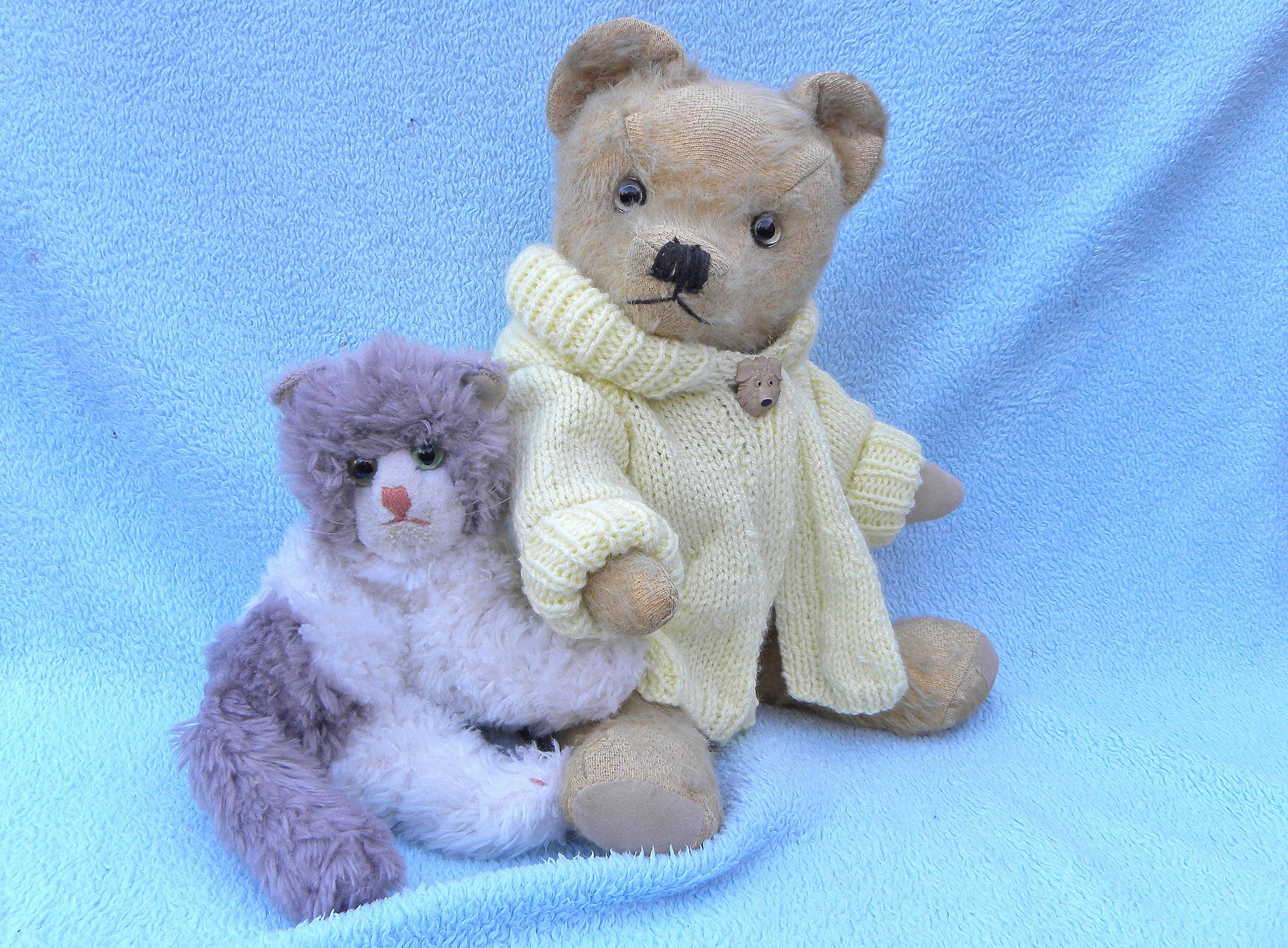 1940s Bear and Steiff Cat 16 Teddy in Gold Mohair Steiff Cosy Kitty Nelson and his Cat Winky