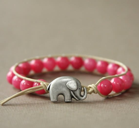 Honeysuckle GOOD LUCK ELEPHANT Leather Wrap Bracelet