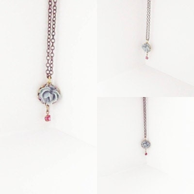 Little Rose Necklace Blue Cabbage Rose Swarovski Crystal- - TasteofShabbyChic