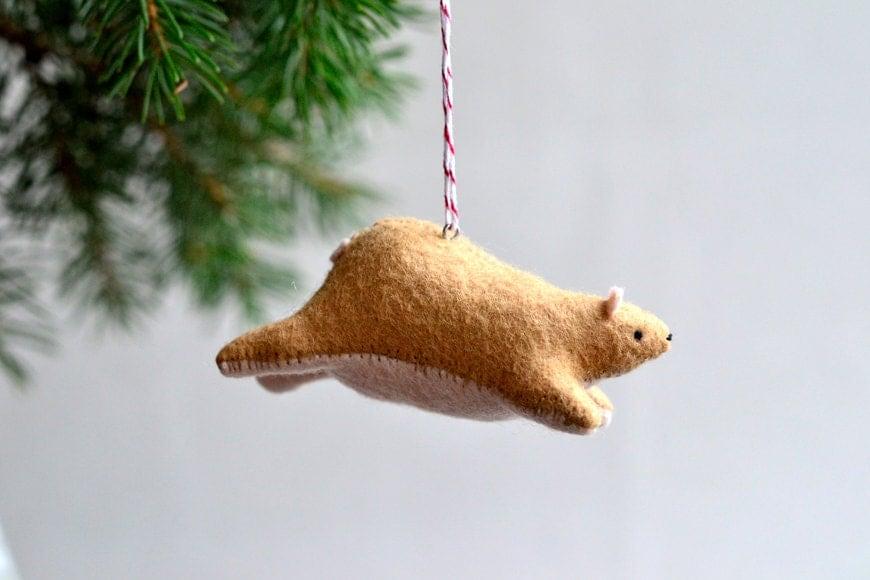 flying bear - christmas ornament