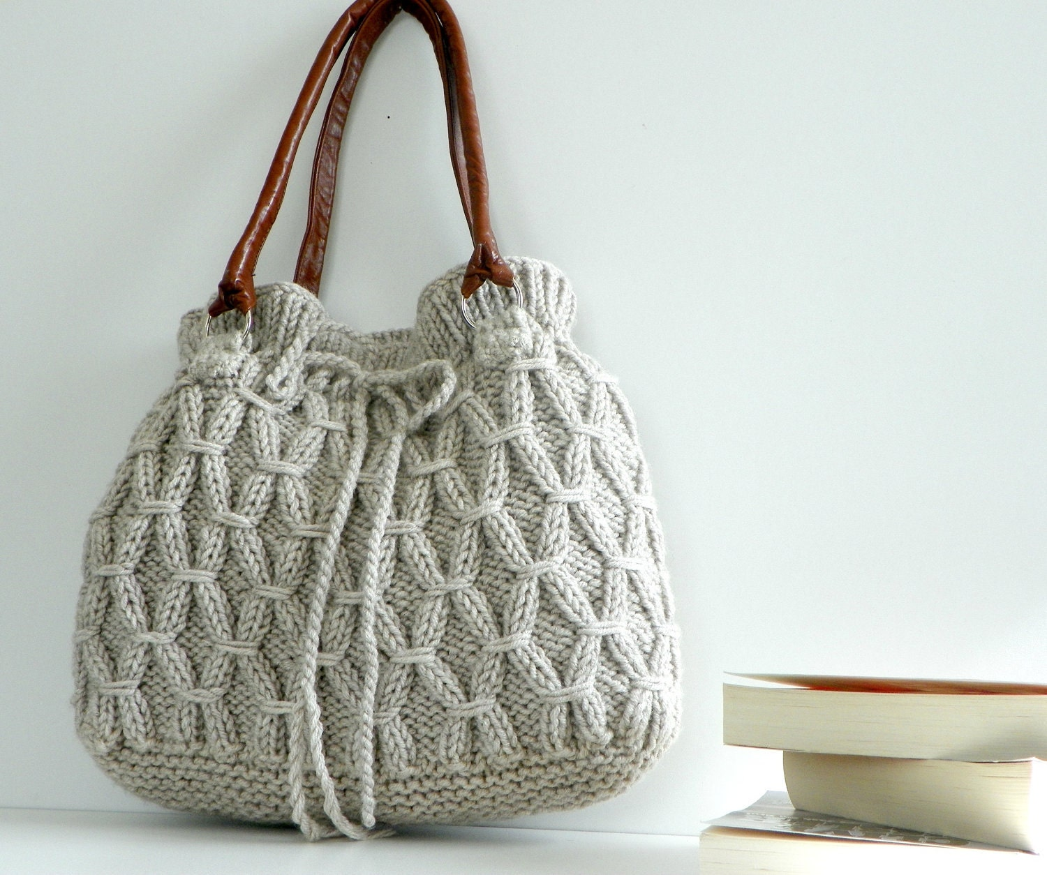 SALE OFF 20%, Knitted Bag, NzLbags - Beige-Ecru Knit Bag, Handbag - Shoulder Bag, Leather Strap Nr-0190