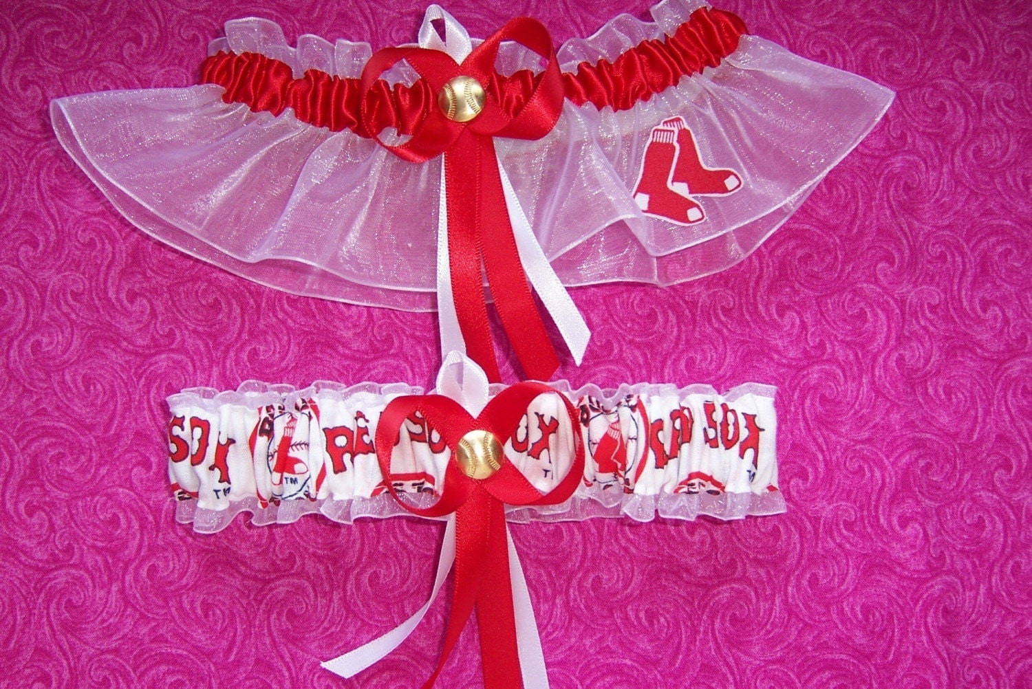 BOSTON RED SOX Inspired Wedding Garter Set