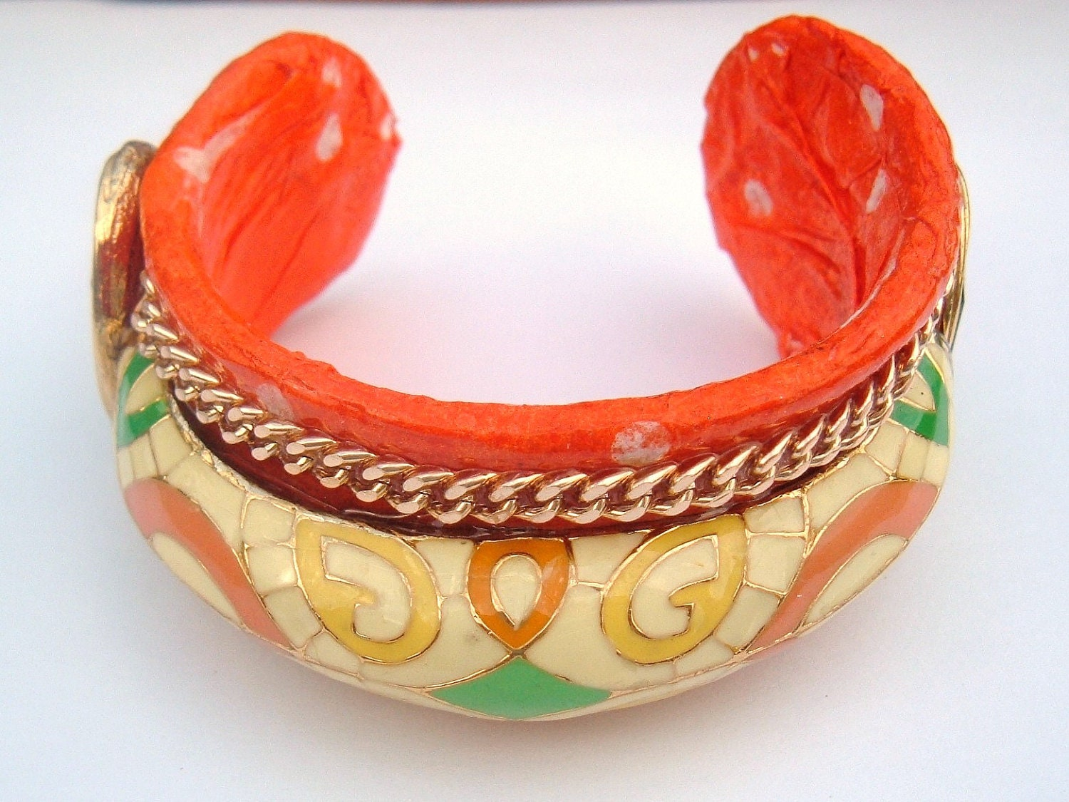 A Polkadot Orange Decoupage Cuff Bracelet vintage recycle