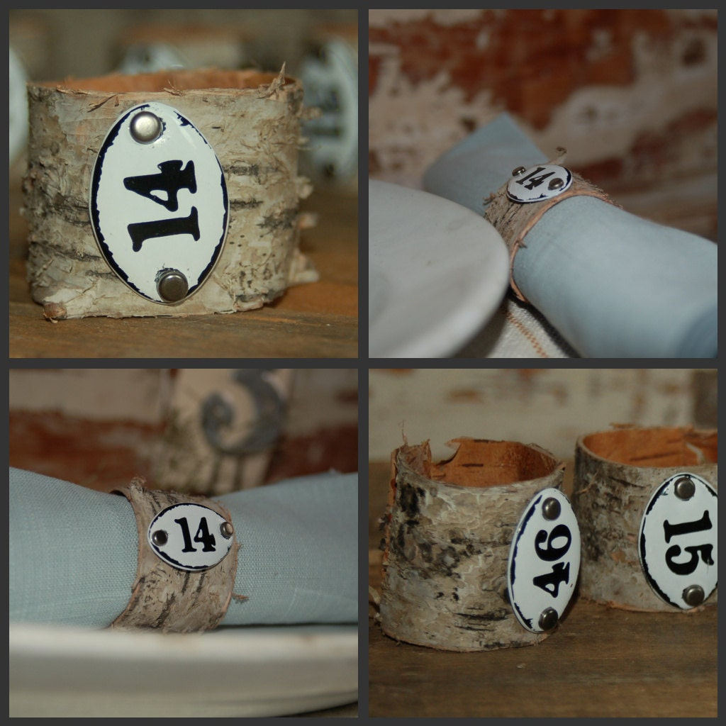 h a n d m a d e  Birch Napkin Rings with Metal Numbered Plaques