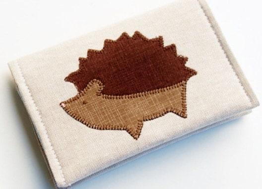 Hedgehog Wallet, Linen Business Card Holder, Vegan, Woodland Animals, Oatmeal Linen, Mushrooms - BrooklynLoveDesigns