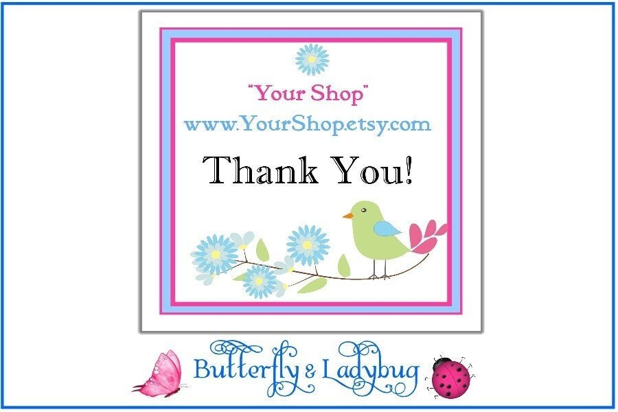 100 Personalized SHOP THANK YOU Stickers