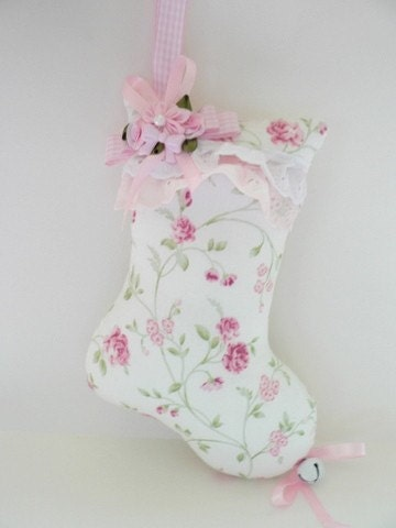 Shabby Christmas Stocking ornament - Trellis roses fabric