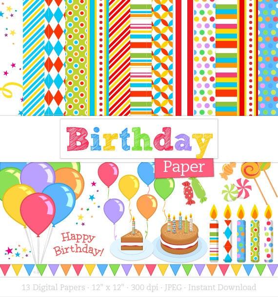 Birthday Digital Paper Pack Birthday Card By Craftyclipart
