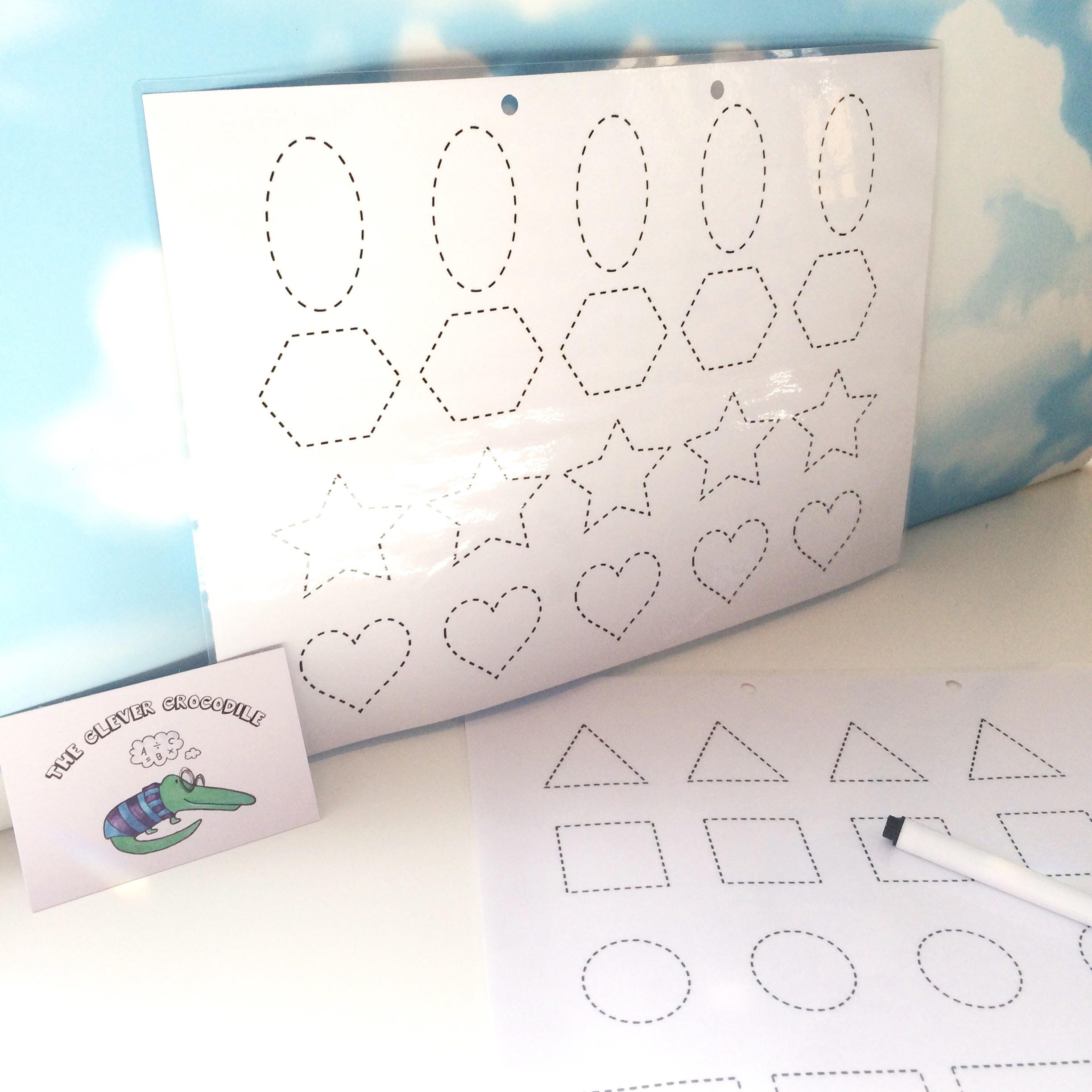 Shape tracing pages Shape tracing Learn to draw shapes EYFS Homeschool supplies Wipe clean Dry wipe pen tracing sheets
