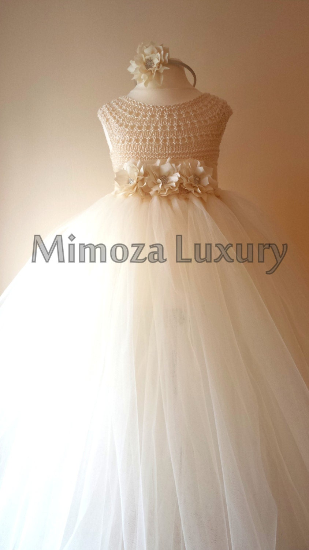 Ivory Flower girl dress ivory  tutu dress bridesmaid dress princess dress ivory crochet top tulle dress ivory hand knit tutu dress