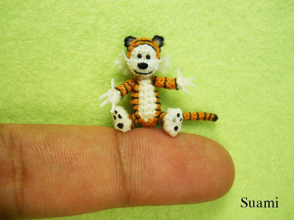 Micro Amigurumi Animal Patterns : Items similar to Miniature Hobbes The Tiger - Tiny Mini ...