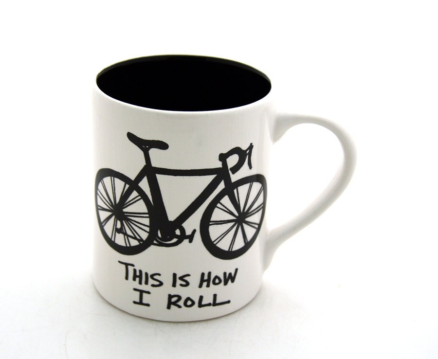 Bike Mug Bicycle This is How I Roll- earthenware - LennyMud