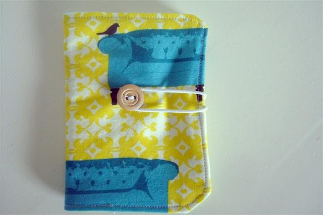 tea wallet. little wallet. card holder. birdies and chairs.  Handmade by sweetstitchshop on etsy.