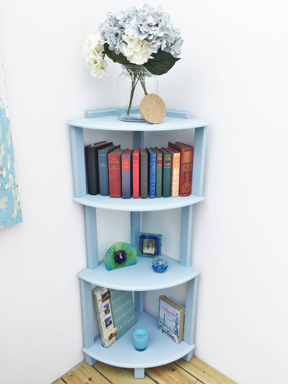 Handmade Corner Shelf cabinet solid wood painted in pastel blue