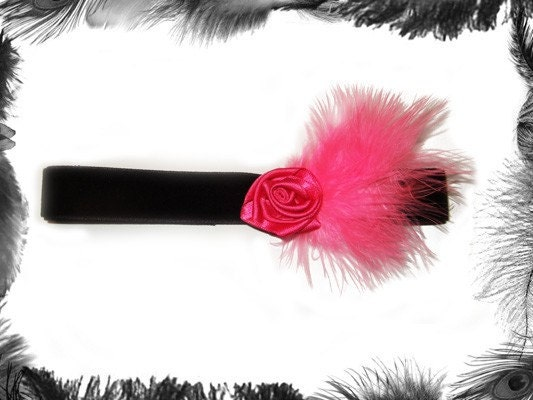 Velvet Choker with Pink Rose and Feathers