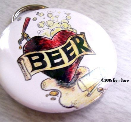 Beertap Heart (Beer Love) , , , 2,25 Inch Bottle Opener Keychain
