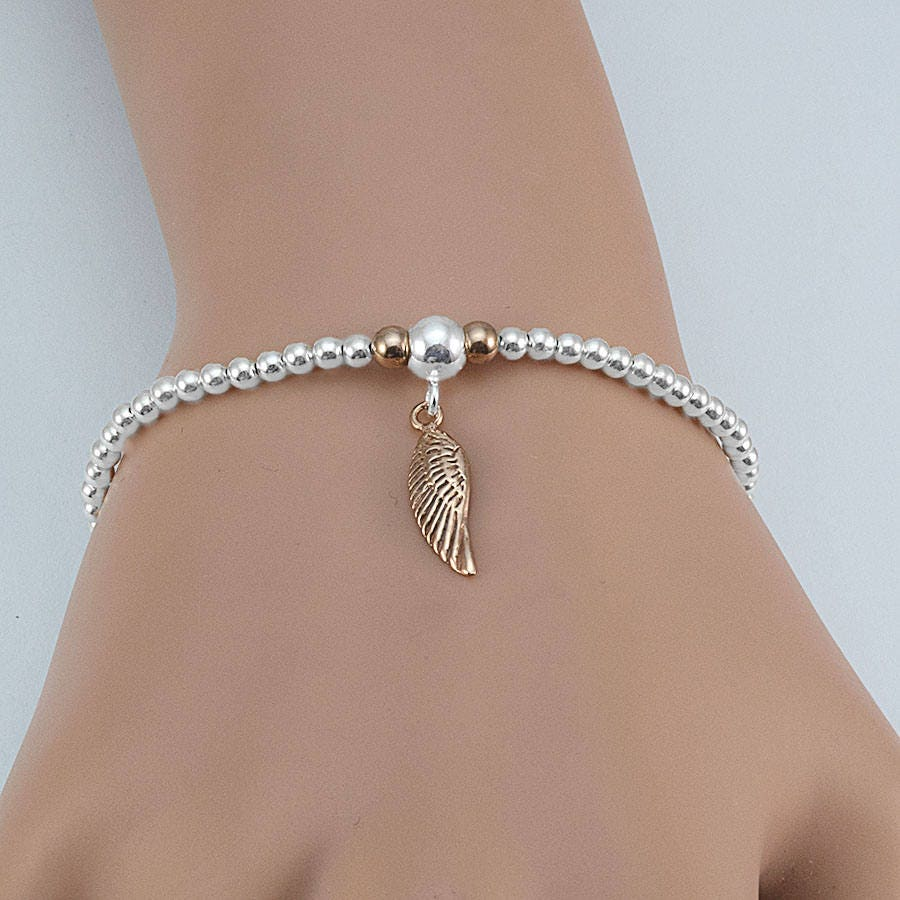 Angel Wing Bracelet Stacking Bracelet Sterling Silver Charm Bracelets Wing Jewelry Stretchy Bracelets Angel Wing Charm Rose Gold