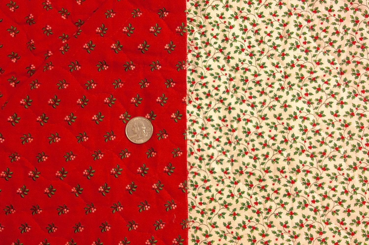 Double Sided Quilted Fabric Christmas Red Green By Fabric4you