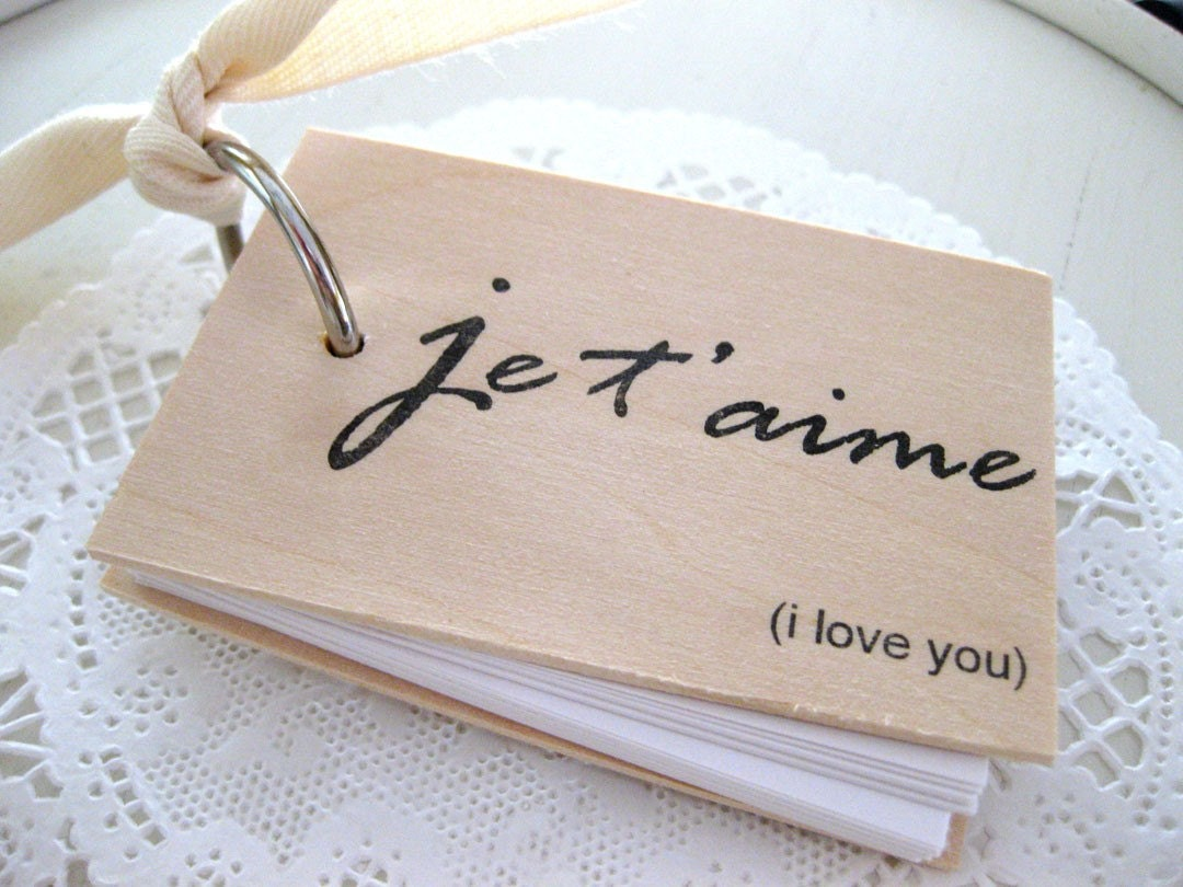 3 in. x 2 in. Wood Mini Notepad (je t'aime - i love you)