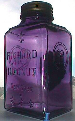 Large antique purple glass jar richard hudnut by plowgirl for Jardin glass jars