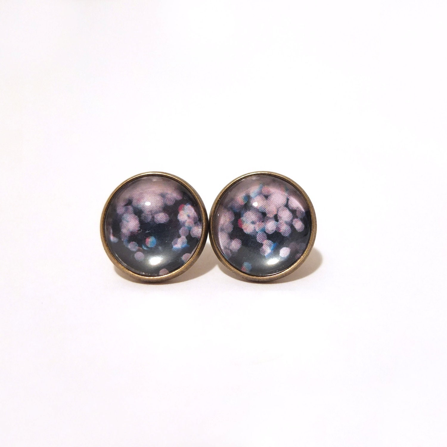 Stud Earrings - Dazzling Night, Bokeh, Galaxy, Dark Blue, Bronze, Post Earrings, Earrings Stud, Simple, Modern, Chic, Blur, Haze