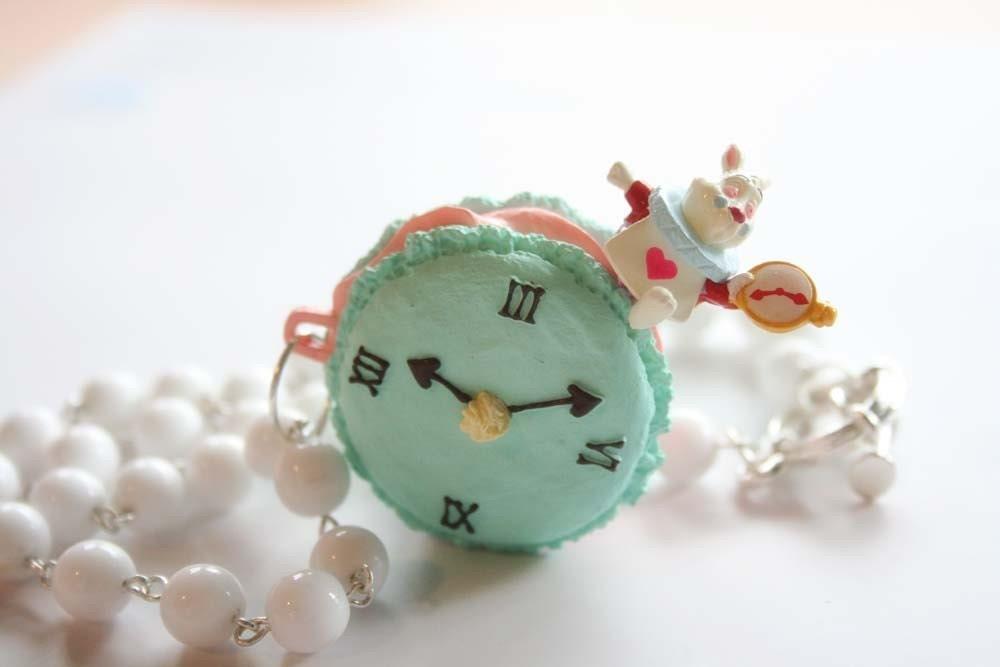 Alice in Wonderland Rabbit sitting on a macaroon necklace