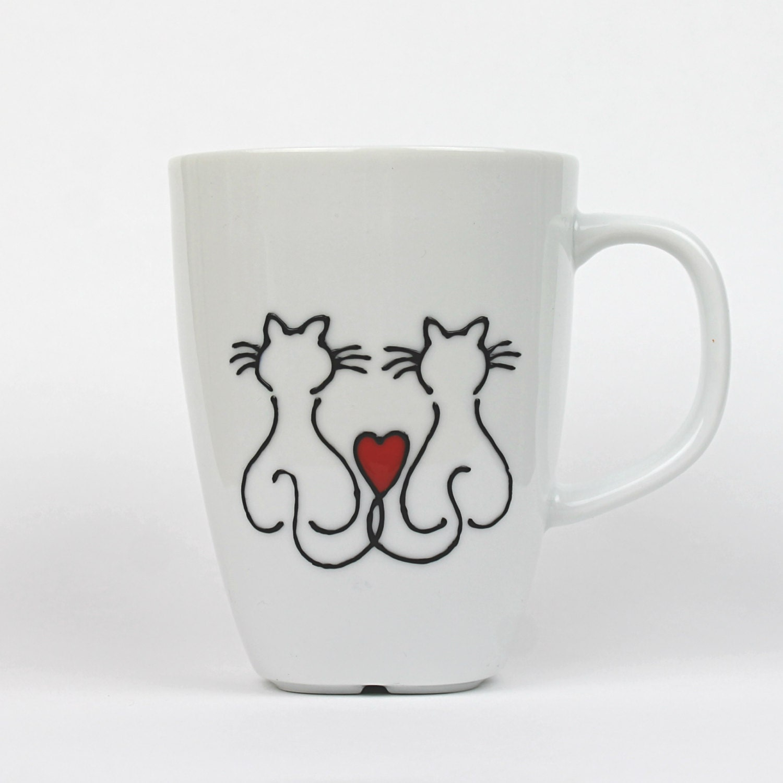 "Hand Painted Porcelain Cup, ""Love cats"" Design, Coffee Mug, Tea Mug, Latte Mug - witchcorner"