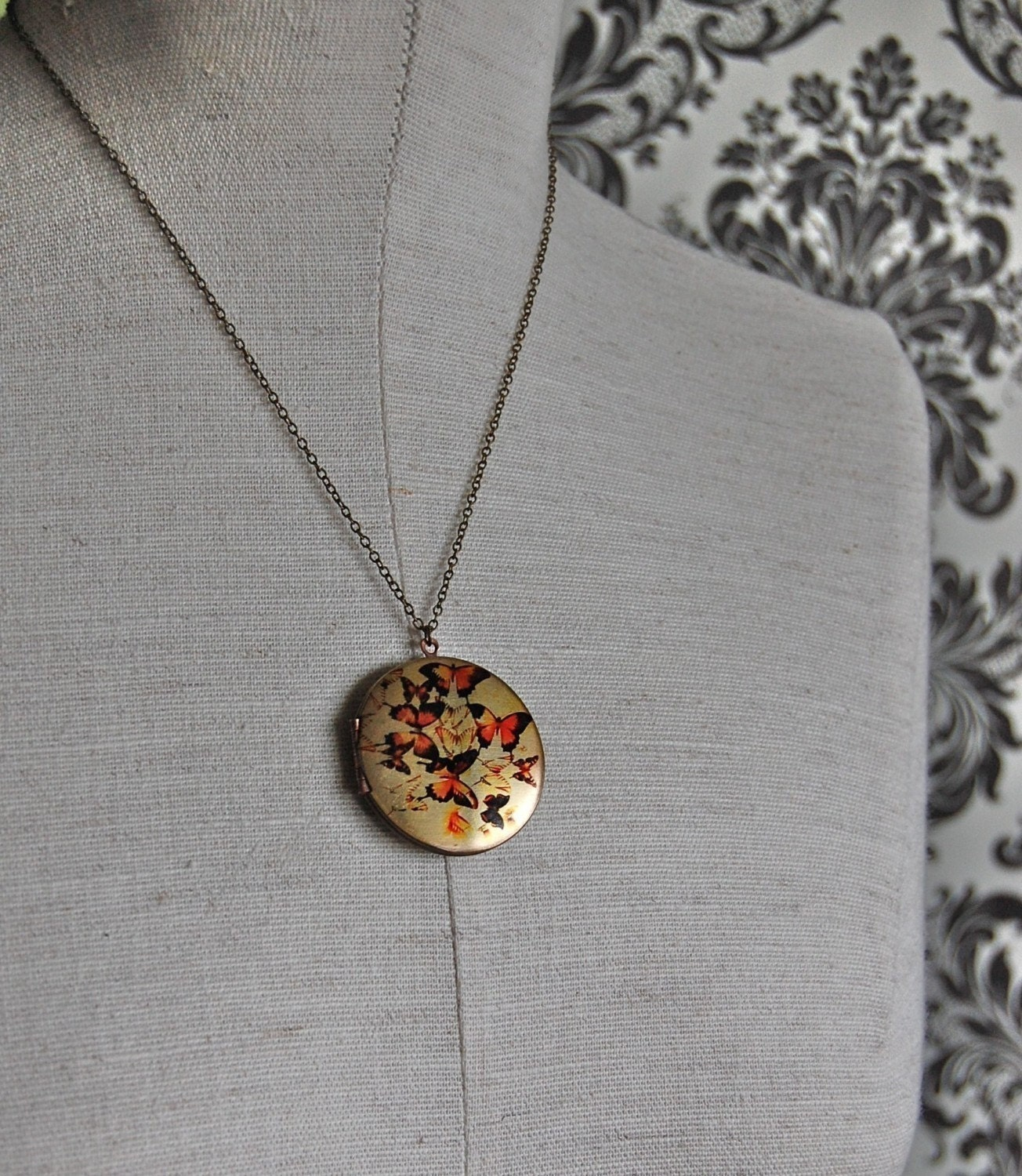 The Flock of Butterflies Locket - Vintage