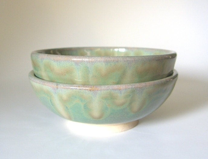 Set of Rice Bowls - Green and White - Made to Order - Small, side dish, salad, soup, rice, noodle - Handmade Ceramic - MedicineWheelPottery