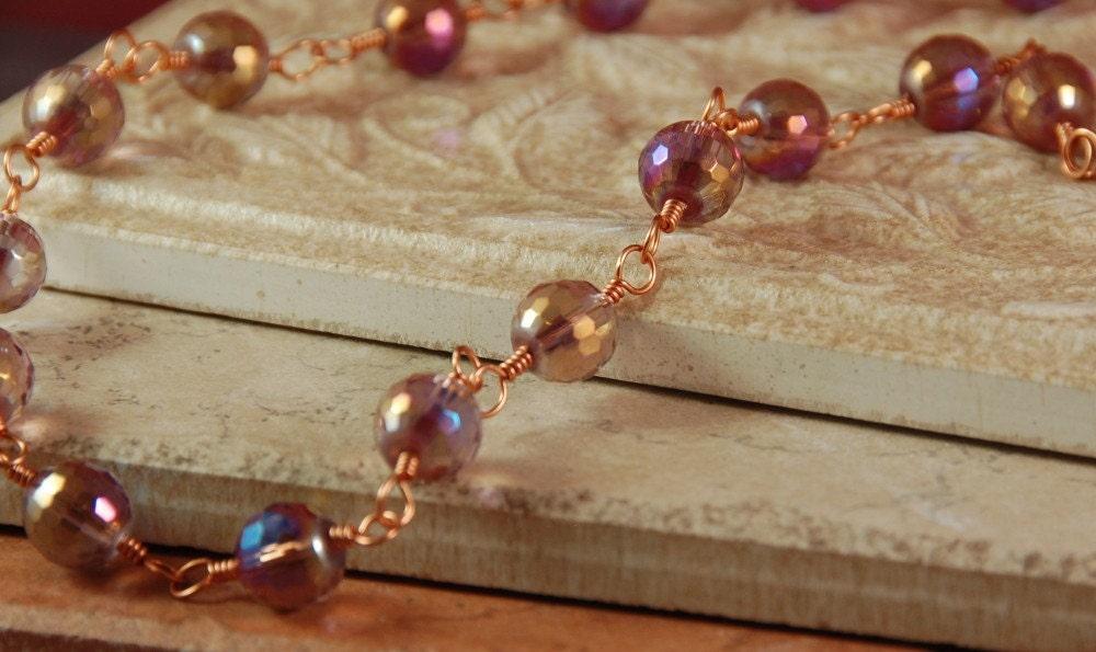 Pale Purple Faceted Czech Glass Necklace
