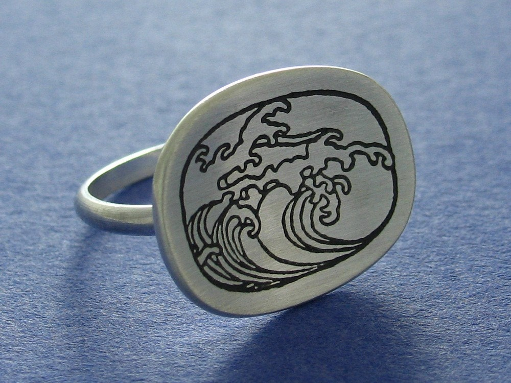 Sterling Silver Wave Etch Ring