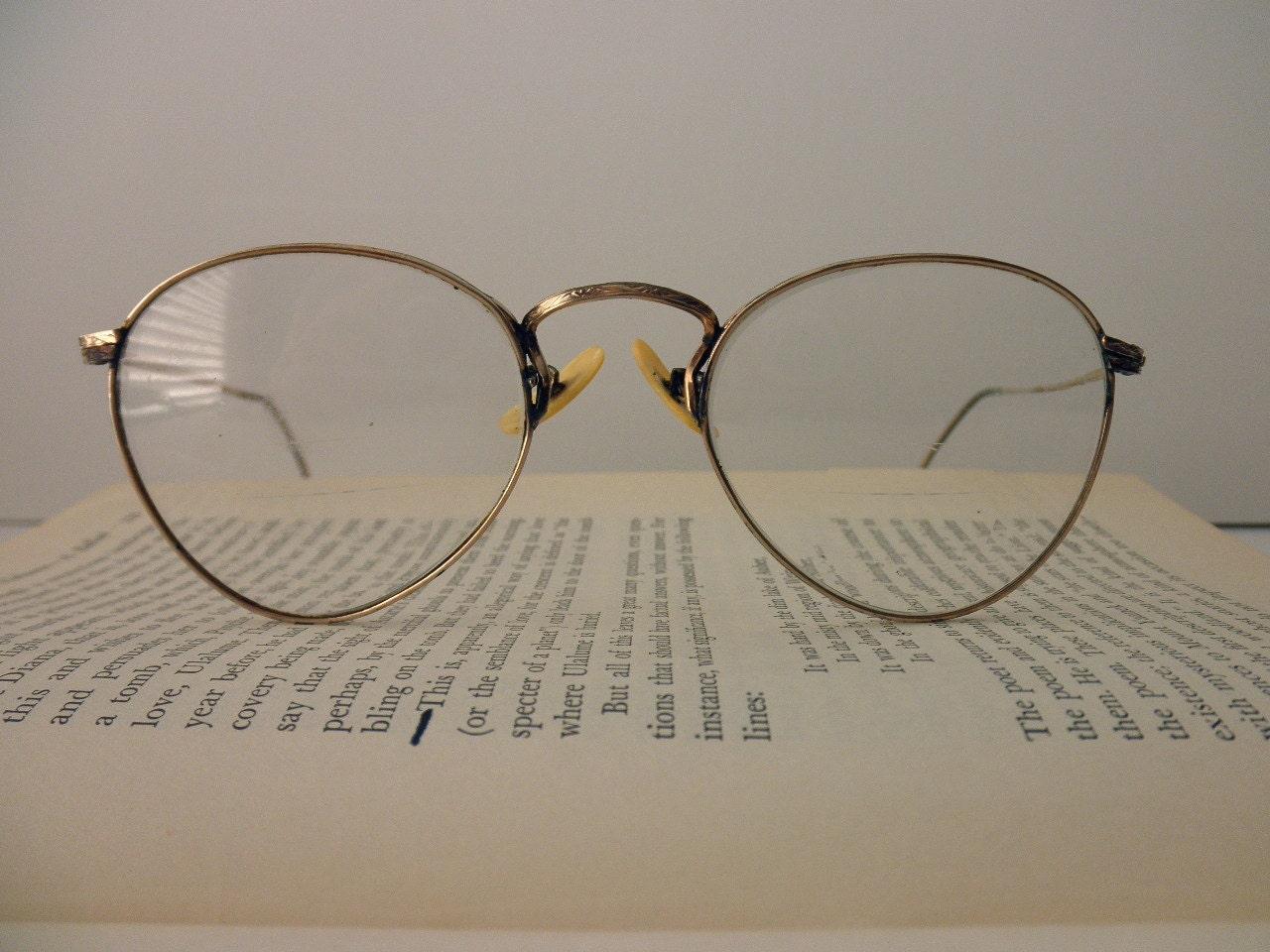 antique Durex wire rim eyeglass frames gold by TrunkGypsies