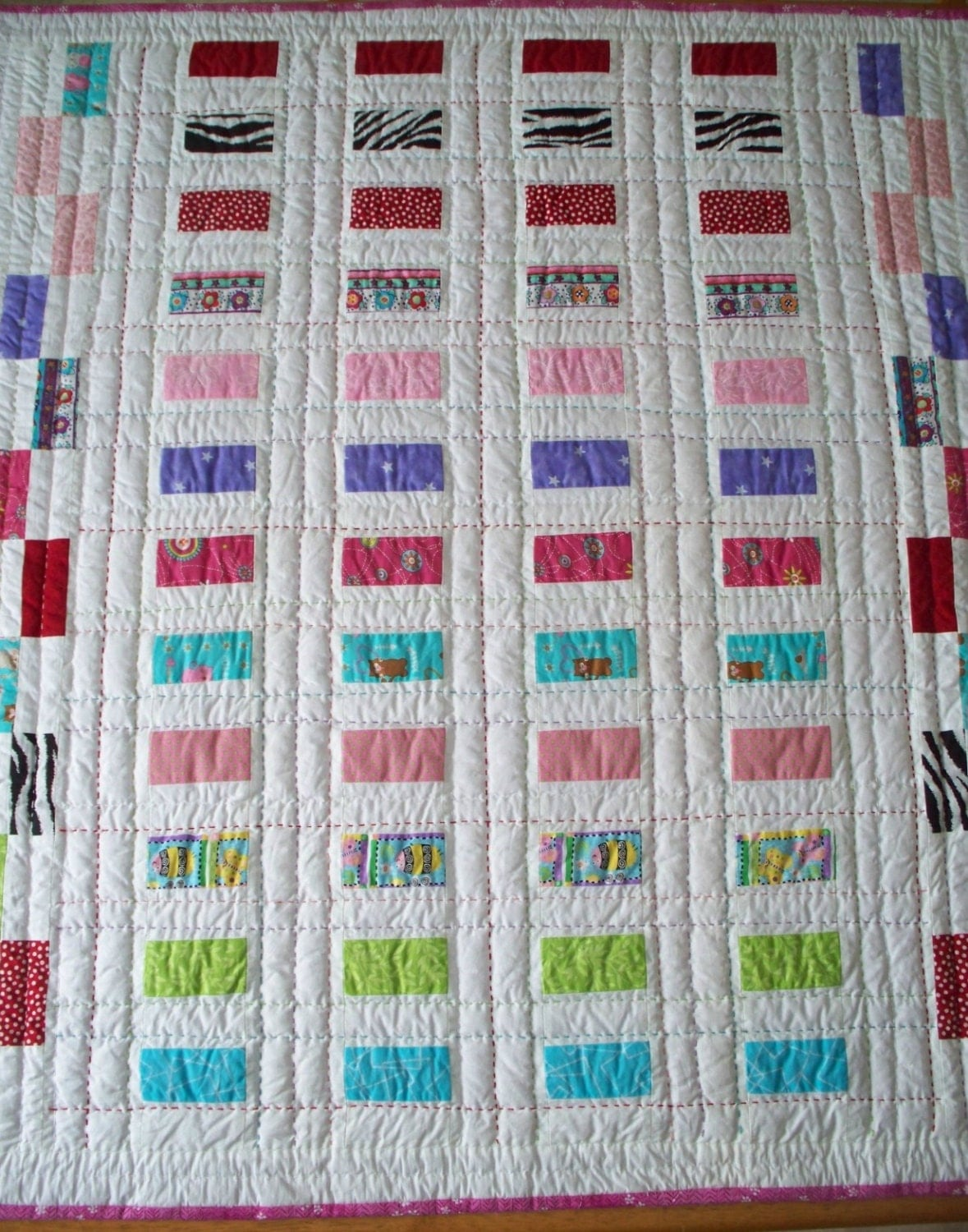 Hand Quilting Patterns For Baby Quilts : Modern Baby Quilt Crib quilt hand quilted by LindaHarvey